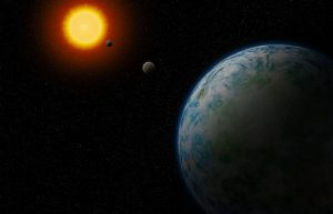 Na ilustração, o novo Super Earth GJ180d, que é o mais provável de abrigar vida - Robin Dienel / Carnegie Institution for Science.